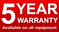 5 Year Warranty on all equipment